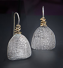 Wrap Fan Earrings by Patricia McCleery (Gold & Silver Earrings)