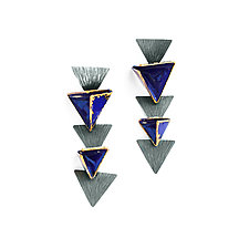 Reveal Geo Post Earrings by Hsiang-Ting  Yen (Gold, Silver & Enamel Earrings)