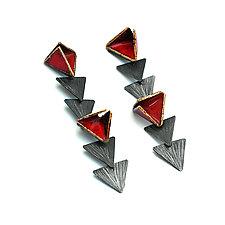 Reveal Multiple Geo Dangle Post Earrings by Hsiang-Ting  Yen (Gold, Silver & Enamel Earrings)