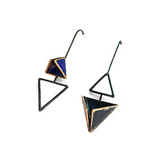 Reveal Asymmetrical Geo Earrings by Hsiang-Ting  Yen (Gold, Silver & Enamel Earrings)