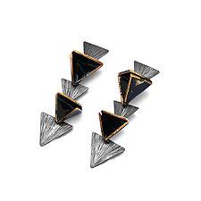 Reveal Geo Post Earrings by Hsiang-Ting  Yen (Gold, Silver & Enamel Earrings)