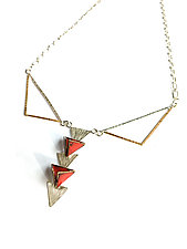 Reveal - Double Triangle Necklace by Hsiang-Ting  Yen (Gold, Silver & Enamel Necklace)