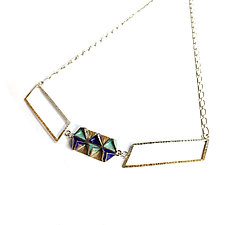 Reveal Double Parallelogram Necklace by Hsiang-Ting  Yen (Gold, Silver & Enamel Necklace)