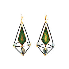 Green, Black, and Gold Modern Deco Cage Earrings by Hsiang-Ting  Yen (Stone & Enamel Earrings)
