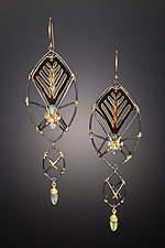Black and Gold Modern Deco Statement Earrings by Hsiang-Ting  Yen (Stone & Enamel Earrings)
