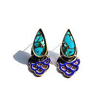Teardrop Turquoise Earrings by Hsiang-Ting  Yen (Stone & Enamel Earrings)