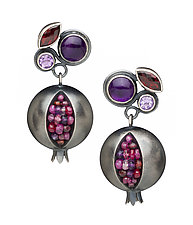 Silver Pomegranate Prima Donna Earrings by Boline Strand (Silver & Stone Earrings)