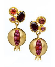 Gold Pomegranate Prima Donna Earrings by Boline Strand (Gold & Stone Earrings)