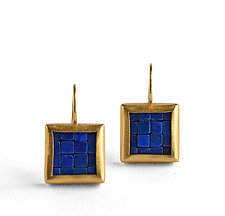 Mosaic Gold Lapis Lazuli Earrings by Boline Strand (Gold & Stone Earrings)