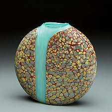 Cascade Vase with Opal Blue Interior by Thomas Spake (Art Glass Vase)