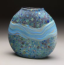 Blue Strata Vase by Thomas Spake (Art Glass Vase)