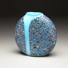 Blue Cascade Vase with Opal Blue Interior by Thomas Spake (Art Glass Vase)