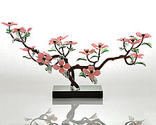 Pink Dogwood Branch by Hung Nguyen (Art Glass Sculpture)
