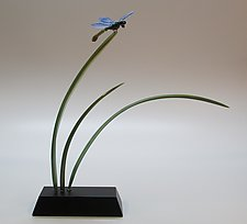 Dragonfly with Green Leaf by Hung Nguyen (Art Glass Sculpture)
