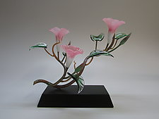 Three Pink Morning Glory Blossoms by Hung Nguyen (Art Glass Sculpture)