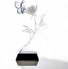 Rose and Butterfly by Hung Nguyen (Art Glass Sculpture)