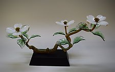 White Dogwood Three Blossom by Hung Nguyen (Art Glass Sculpture)