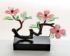 Pink Dogwood Three Blossoms by Hung Nguyen (Art Glass Sculpture)