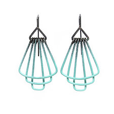 Deco Tier Mini Earrings in Aqua by Jera Lodge (Silver & Steel Earrings)