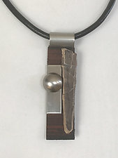 Art Necklace 507 by Shirley Wagner (Wood & Steel Necklace)