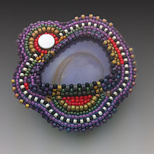 Agate Pin by Sheila Fernekes (Stone & Glass Bead Brooch)
