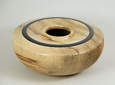 Figured Myrtle Enclosed Form with African Blackwood by Eric Reeves (Wood Vases & Vessels)