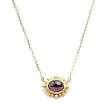 New Palace Necklace with Oval Garnet by Marian Maurer (Gold & Stone Necklace)