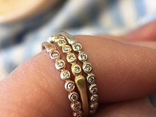 Porch Skimmer Band with Diamonds by Marian Maurer (Gold & Stone Ring)