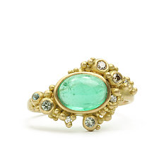 Coco Ring with Emerald Cabochon by Marian Maurer (Gold & Stone Ring)