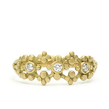 Sia Scalloped Ring with Diamonds by Marian Maurer (Gold & Stone Ring)