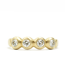 Porch Skimmer Ring with 3mm Diamonds by Marian Maurer (Gold & Stone Ring)
