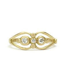 Vivi Double Ring with Diamonds by Marian Maurer (Gold & Stone Ring)