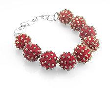 Big Beaded-Felt Necklace by Linda May (Bead & Felt Necklace)