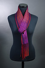 Sworls Scarf in Reds and Purples by Mindy McCain (Tencel Scarf)