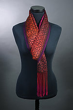 Sworls Scarf in Reds and Black by Mindy McCain (Tencel Scarf)