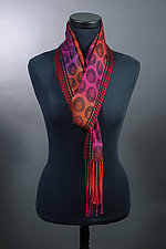 Olives Scarf in Reds and Black by Mindy McCain (Tencel Scarf)