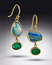 Opal Emerald Earrings by Lori Kaplan (Gold & Stone Earrings)