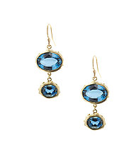 Double Decker London Topaz by Lori Kaplan (Gold & Stone Earrings)