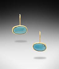 Kingman Turquoise Earrings by Lori Kaplan (Gold & Stone Earrings)