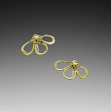 He Loves Me Flower Earrings by Lori Kaplan (Gold Earrings)