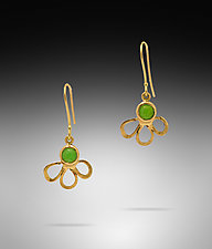 Chrysoprase 18K Flower Earrings by Lori Kaplan (Gold & Stone Earrings)