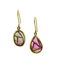 Stained Glass Tourmaline Earrings by Lori Kaplan (Gold & Stone Earrings)