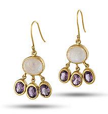 Moonstone and Amethyst Drop Earrings by Lori Kaplan (Gold & Stone Earrings)