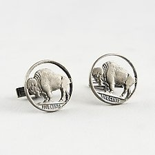 Buffalo Circled Cuff Links by Stacey Lee  Webber (Silver Cuff Links)