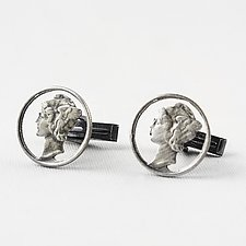 Mercury Circled Cuff Links by Stacey Lee  Webber (Silver Cuff Links)