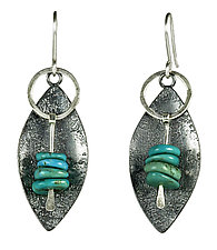 Turquoise Canoe Earrings by Tammy B (Silver & Stone Earrings)