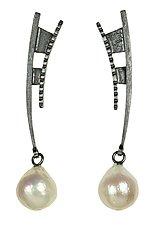Dagger Dangle Earrings by Tammy B (Silver & Pearl Earrings)