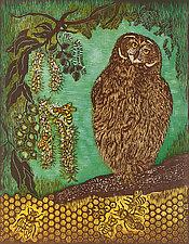 Macadamia Buzz by Andrea  Pro (Woodcut Print)