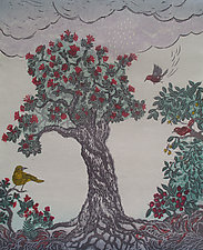 Laka Gathers the Forest by Andrea  Pro (Woodcut Print)