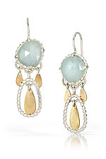 Aquarmarine and Gold Drop Earrings by Alice Scott (Gold, Silver & Stone Earrings)